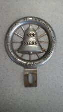 VINTAGE METAL AAA AUTO CLUB SOUTHERN CALIFORNIA GOOD ROADS LICENSE TOPPER
