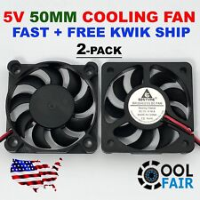 2 Pcs 5V 50mm Cooling Computer Fan 5010 50x50x10mm DC 3D Printer 2-Pin US Ship
