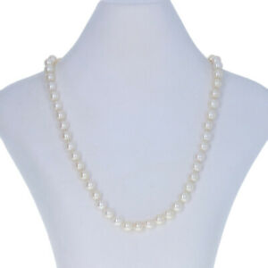 """White Gold Cultured Freshwater Pearl & Diamond Necklace 18 1/4"""" - 14k Knotted"""
