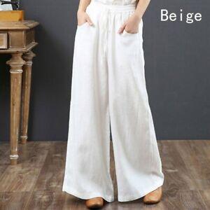Lady Cotton Linen Wide Leg Trousers High Elastic Waist Loose Casual Pants Summer