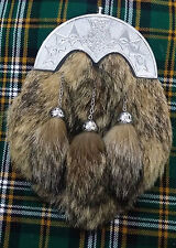 Men's Full Dress Kilt Sporran Fox Fur Thistle Knot Cantle/Highland Kilt Sporrans