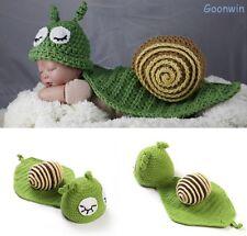 Neugeborene Baby Knit Strick Fotoshooting Kostüm Schnecke Mütze Mantel