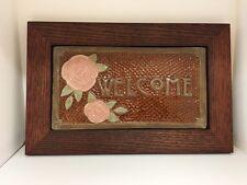 Fay Jones Day Flower Welcome Tile Framed  Arts & Crafts Mission Style Oak Park