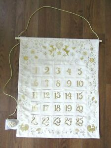 """EMBROIDERED COUNTDOWN CHRISTMAS ADVENT CALENDAR 20"""" x 25""""  Silver and Gold NEW"""