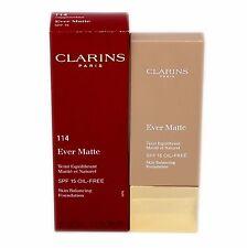 CLARINS EVER MATTE SKIN BALANCING FOUNDATION SPF 15 30ML #114-BEIGE NIB-402881