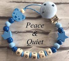 Personalised dummy clip 💙 Manichino di legno ⭐ CATENA 💙 Teddy ⭐ Blu 💙 BOY ⭐ regalo #WWW