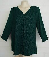 Dana Buchman Large green black dalmatian spot jersey tunic top