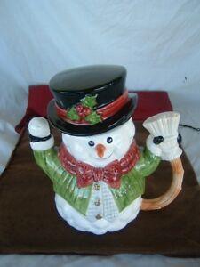 Christmas Snowman Tea Pot Pitcher Fitz and Floyd