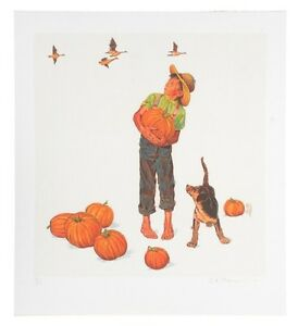 """""""Autumn's Harvest"""" by Norman Rockwell Lithograph on Arches Paper Ettinger Inc"""