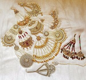 UK SELLER Indian Gold Silver Jhomer Jhumer Tikka Tika Headpiece Matha patti Set