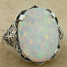 ANTIQUE FILIGREE STYLE 925 STERLING SILVER WHITE LAB OPAL RING SIZE 5,      #924