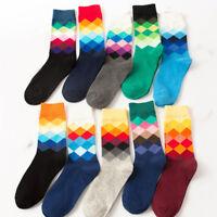 British Style Mens Cotton Socks Warm Colorful Diamond Casual Dress Socks 9-11 #A