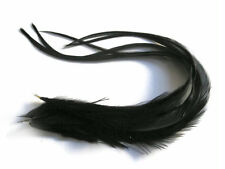 6 Pieces - Solid Black Thick Long Rooster Hair Extension Feathers