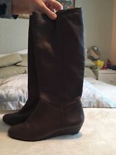 Carvela Mid-calf Leather Dark Brown Boots Wedge Style Dark Size 40 (6.5 Uk)
