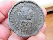 United American Metals Lancaster PA From Press Indian Chief Medal Weight (18B1)
