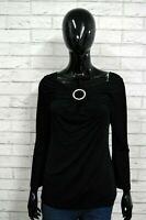 JUST CAVALLI Maglia Donna Taglia 48 Polo Manica 3/4 Shirt Nera Elastica T-shirt