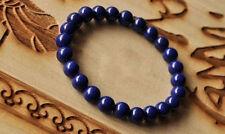 "8mm Dark Blue Lapis Lazuli Round Beads Gems Bracelet 7.5"" Elasticity"