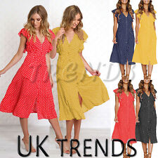 UK Womens Polka Dot Midi Wrap Button Front Ruffle Dress Ladies Evening Size 6-14