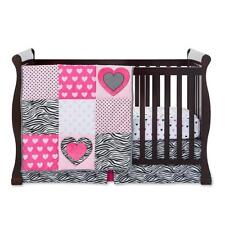 Tender Kisses Infant Girl Comforter Crib Dust Ruffle Skirt Mobile Zebra Pink