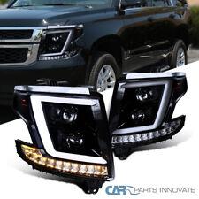For 15-20 Chevy Tahoe Suburban Glossy Black LED Bar Smoke Projector Headlights