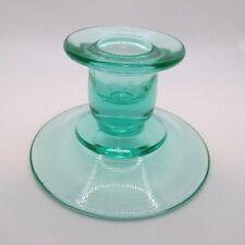 Vintsge Green Depression Vaseline Glass Candle Holder Single