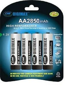 4 x AA 2850 MAH DIGIMAX RECHARGEABLE BATTERIES-(LR06)