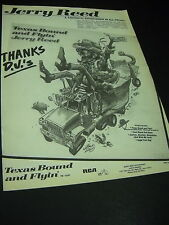 JERRY REED says Thanks D.J.'s TEXAS BOUND AND FLYIN'... 1980 Promo Display Ad