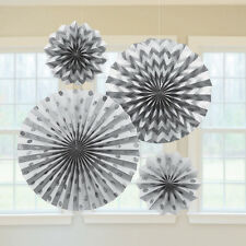 4 x Silver Paper Fans Hanging Party Decorations Glitter Finish 25th Anniversary