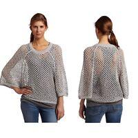 BCBG MAXAZRIA Women's Kara Mesh Sweater Top Size Small Light Gray Knit Top