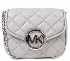 NEW MICHAEL KORS FULTON QUILT MK SILVER PEARL GREY LEATHER SMALL CROSSBODY BAG