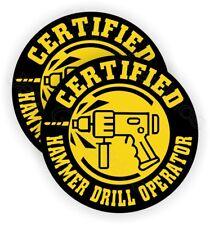 Hard Hat Stickers | Hammer Drill Operator Funny Helmet Decals Safety Laborer USA
