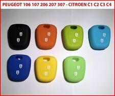 Cover chiave guscio silicone PEUGEOT 106 206 207 307 CITROEN C1 C2 C3 C4 2 tasti