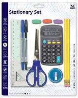 14 Pcs Stationery Set Maths School Kids Pens Pencils Ruler Calculator Scissors