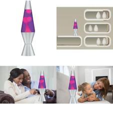Retro Lava Lamp Liquid Motion Vintage Night Light Lite Pink Purple Silver Base