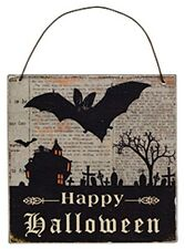 Halloween Decor Wall Sign Happy Halloween Ornament Shabby Antiqued NEW Bat