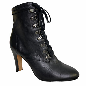 Halogen Boots 10M Black Lace-up Almond Toe Leather Wicca Gothic Dominatrix