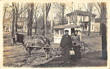 Galion OH Dairy Milk Delivery Wagon Dirt Street View RPPC Postcard