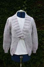 New Hand Knitted pink/lilac/blue cardigan medium size 14-16