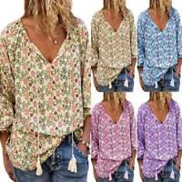 Plus Size Womens Floral Print V Neck Long Sleeve Tops Blouse Tunic Boho T Shirt