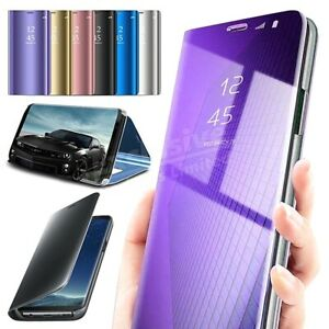 Case For Samsung Galaxy S8 S9 S10 S20 Smart View Mirror Leather Flip Stand Cover