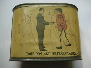 1930's Uncle Don & Mr. Ernest Saver Greenwich Savings Tin Bank WOR Radio NYC