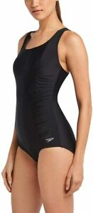 Speedo Women's One Piece Swimsuit Shirred Sides - Speedo Black