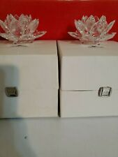 Swarovski Silver Crystal Footed Lotus Water Lily Candle Holder w/ Original Box 2