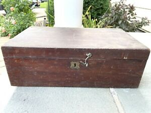 Antique Wood General Store Cash Document Box with Side Handles