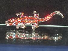 NEW BRONZETONE & RED CRYSTAL CROCODILE PIN/BROOCH W/AB EYES AND LEGS WOW!! b431