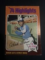 HANK AARON 1975 Topps #1 '74 Highlights Atlanta Braves HOF