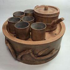 Yixing Pottery 8 pcs Tea Set : Tea Tray, Teapot, Tea cup, Bamboo Design TE25-14