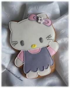 Set of 4 Homemade gingerbread cookie Hello Kitty, perfect gift or decor by eve