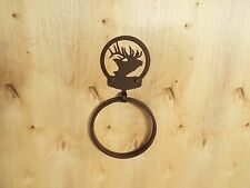 Laser Cut Steel Bath, Kitchen Towel Ring Holder Home Decor 6 Pt  Bull Elk copper