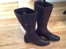 f902d60b94426 Easy Spirit Side Zip Brown Leather Knee High Boots Sz 11 M Buckle Accent ECC